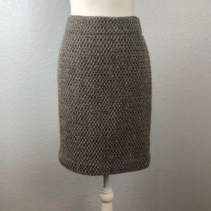 J. Crew gray/brown wool pencil skirt w/copper